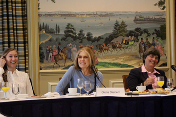 Gloria Steinem, co-convenor of Donor Direct Action, creates a moment of levity at a breakfast hosted by Donor Direct Action on 30 June 2016.