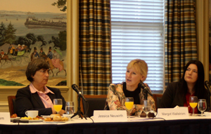 Jessica Neuwirth, Director of Donor Direct Action (left) and Rachel Moran, Executive Director of SPACE International (right) listen to Sweden's Foreign Minister, Margot Wallström, speaking at a breakfast hosted by Donor Direct Action on 30 June 2016.