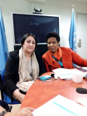Najia Karimi (left), Executive Director of the Donor Direct Action partner organization Humanitarian Assistance for the Women and Children of Afghanistan (HAWCA), with Phumzile Mlambo Ngcuka, Executive Director of UN Women. The meeting, on 20 July 2016 in Kabul, was to discuss the work, challenges, achievements and strategic direction of Afghan NGOs working for the elimination of violence against women. A number of courageous women survivors of violence, who are in women protection centers in Afghanistan such as those run by HAWCA, spoke about their lives, their struggles and resistance.