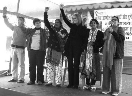 Gloria Steinem and Jessica Neuwirth join a women's rally in Bihar with Ruchira Gupta (end right) and Meena Khatun - activist and sex trafficking survivor and others from Apne Aap India